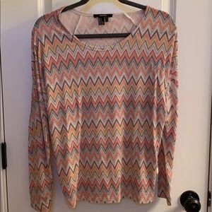 Forever 21 multi color zig zag pattern top